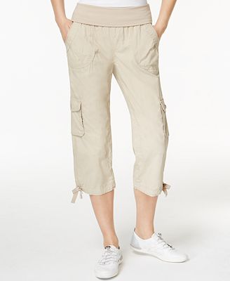 Calvin Klein Performance Rollover Waistband Cropped Cargo Pants ...