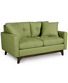 "Nari 58"" Fabric Tufted Back Loveseat with 2 Toss Pillows - Custom Colors, Created for Macy's"