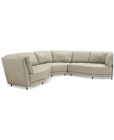 CLOSEOUT! Belice 3-Pc. Leather Modular Sofa, Created for Macy's