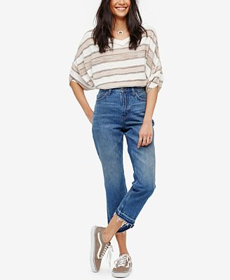 Free People Cotton Cropped Blue Wash Bootcut Jeans