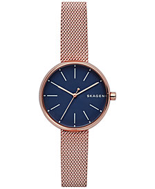 Skagen Women's Signature Rose Gold-Tone Stainless Steel Mesh Bracelet Watch 30mm SKW2593