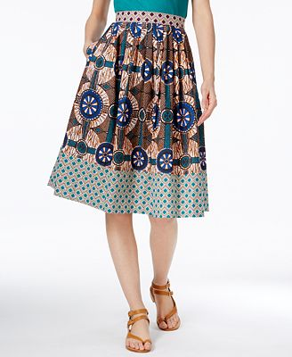 Weekend Max Mara Cellula Cotton Printed A-Line Skirt - Women - Macy's