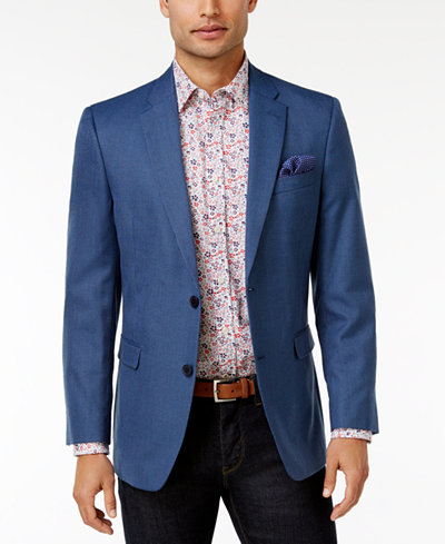 Tommy Hilfiger Men's Slim-Fit Blue Mini-Check Sport Coat - Blazers ...