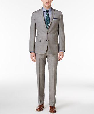 Ryan Seacrest Distinction® Men's Slim-Fit Medium Gray Sharkskin Suit Separates, Created for Macy's