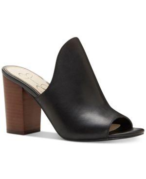 Jessica Simpson Rainn Peep-Toe Block-Heel Slides Women
