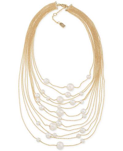 Lauren Ralph Lauren Gold-Tone Pavé & Imitation Pearl Multi-Row Necklace