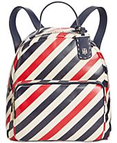 Tommy Hilfiger Julia Diagonal Coated Stripe Dome Small Backpack