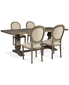 Tristan Trestle Dining Furniture, 5-Pc. Set (Trestle Dining Table & 4 Side Chairs), Created for Macy's
