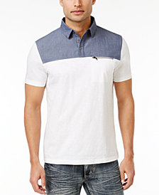 I.N.C. Men's Colorblocked Cotton Polo, Created for Macy's