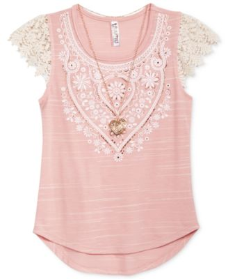 Image of Beautees Crochet Blush Shirt with Necklace, Big Girls (7-16)