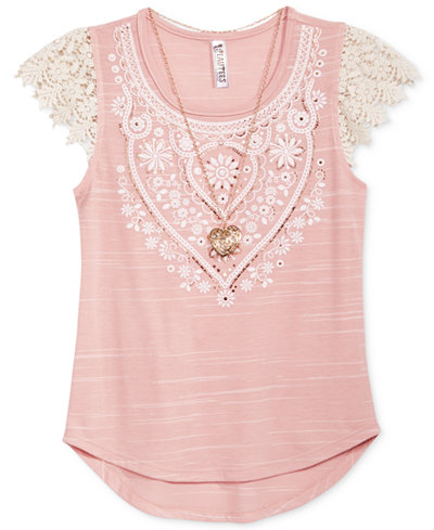 Beautees Crochet Blush Shirt with Necklace, Big Girls (7-16)