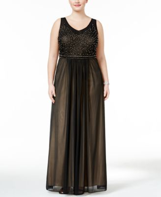 Xscape Plus Size Beaded Mesh Gown
