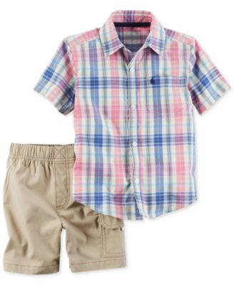 Image of Carter's 2-Pc. Cotton Plaid Shirt & Shorts Set, Baby Boys (0-24 months)