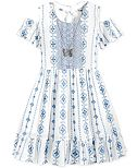 Beautees Embroidered Off-The-Shoulder Dress with Necklace, Big Girls (7-16)