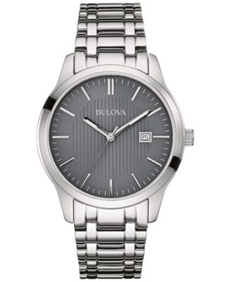 bulova menu0027s stainless steel bracelet watch 40mm 96b224 a macyu0027s exclusive style - Stainless