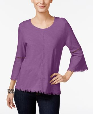 Image of Style & Co Crochet-Trim Bell-Sleeve Top, Only at Macy's