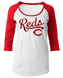 5th & Ocean Women's Cincinnati Reds Sequin Raglan T-Shirt