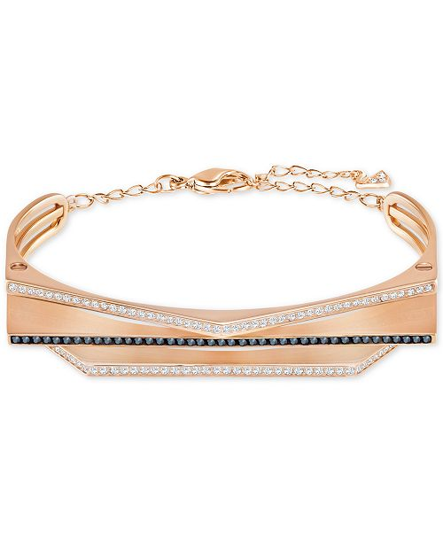 Swarovski Rose Gold-Tone Clear & Jet Crystal Geometric Bangle Bracelet