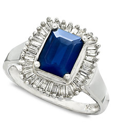 Gemma by EFFY Sapphire (1-5/8 ct. t.w.) and Diamond (5/8 ct. t.w.) Ring in 14k White Gold (Also in Emerald)