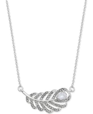 Image of INC International Concepts Silver-Tone Crystal Leaf Pendant Necklace, Created for Macy's