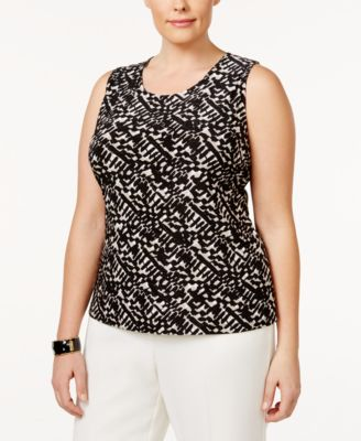 JM Collection Plus Size Jacquard Tank Top, Only at Macy's