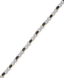 Sapphire (4-1/2 ct. t.w.) Flex Bracelet in Sterling Silver and 18k Gold-Plated Sterling Silver