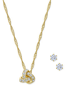 Charter Club Gold-Tone Crystal Knot Pendant Necklace & Stud Earrings Set, Created for Macy's