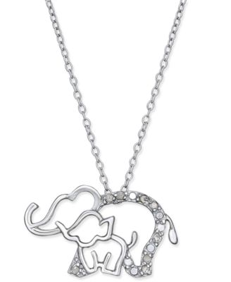 White Gold Elephant and Heart Pendant Necklace with Diamonds