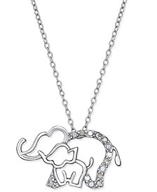 Diamond Elephant and Baby Pendant Necklace (1/10 ct. t.w.) in Sterling Silver