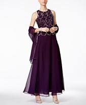 3e02301242ba J Kara Embellished A-Line Gown and Scarf
