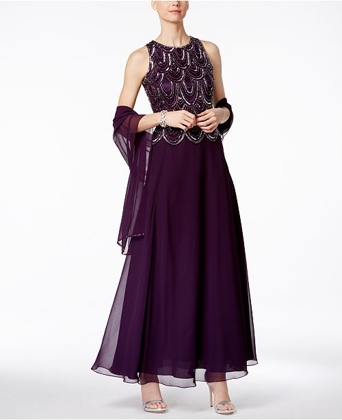 9c4ba5b6904 J Kara Embellished A-Line Gown and Scarf   Reviews - Dresses - Women ...