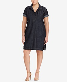 Plus Size Cotton Denim Shift Dress