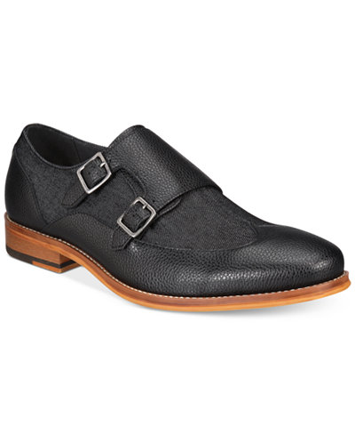 Bar III Men's Rebel Mixed Media Monk Strap Oxfords, Created for Macy's