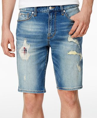 "GUESS Men's Slim-Fit Stretch Destroyed 11"" Stretch Denim Shorts ..."