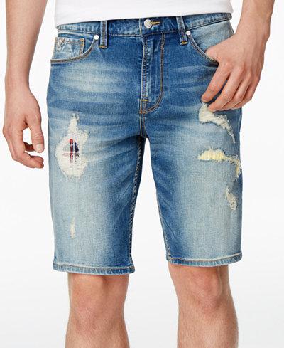 "GUESS Men's Slim-Fit Stretch Destroyed 11"" Stretch Denim Shorts ..."