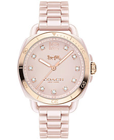 Coach Women's Tatum Light Pink Ceramic Bracelet Watch 34mm 14502754, Created for Macy's