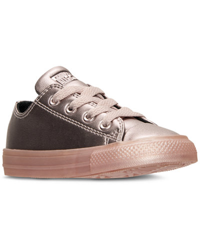 Converse Toddler Girls' Chuck Taylor Ox Metallic Leather Casual Sneakers from Finish Line