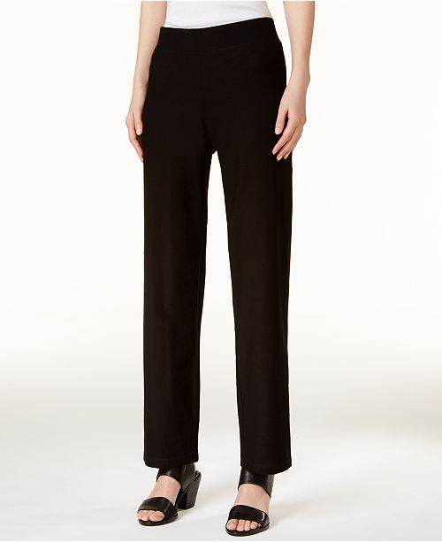 887a395d10cff ... Eileen Fisher Washable Crepe Straight-Leg Pants