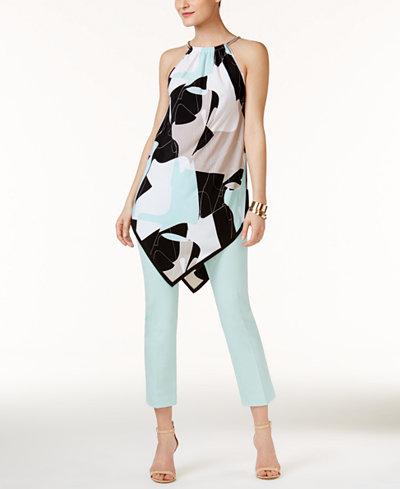 Alfani Handkerchief-Hem Top & Cropped Pants, Created for Macy's