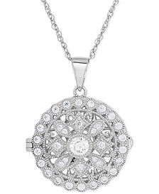 Cubic Zirconia Round Locket Pendant Necklace in Sterling Silver