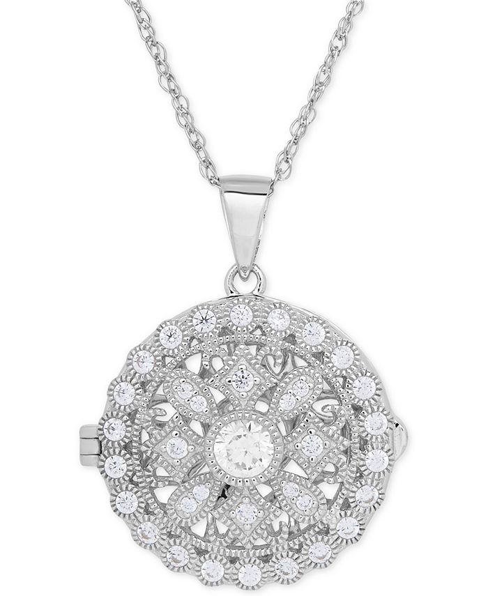 Macy's - Cubic Zirconia Round Locket Pendant Necklace in Sterling Silver
