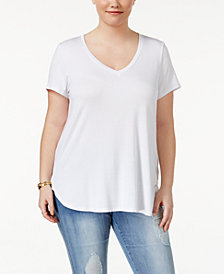 Celebrity Pink Trendy Plus Size V-Neck T-Shirt