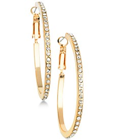 "GUESS Gold-Tone Crystal Medium 1-1/4"" Hoop Earrings"