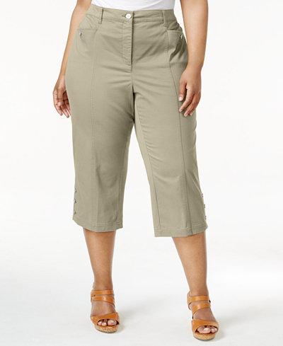 Karen Scott Plus Size Button-Hem Capri Pants, Created for Macy's ...