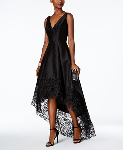 Betsy Amp Adam Lace Trim High Low Gown Dresses Women