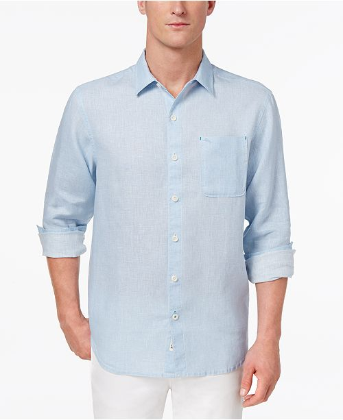 77cc8bea7a ... Tommy Bahama Men's Sea Glass Breezer Linen Shirt, Created for Macy's ...