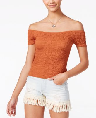 Image of American Rag Smocked Off-The-Shoulder Top, Only at Macy's