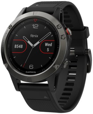 Unisex fenix® 5 Black Silicone Strap GPS Smart Watch 47mm