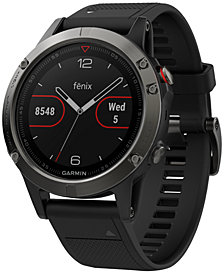 Garmin Unisex fenix® 5 Black Silicone Strap GPS Smart Watch 47mm