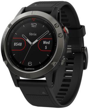 GARMIN Unisex Fenix 5 Black Silicone Strap Gps Smart Watch 47Mm